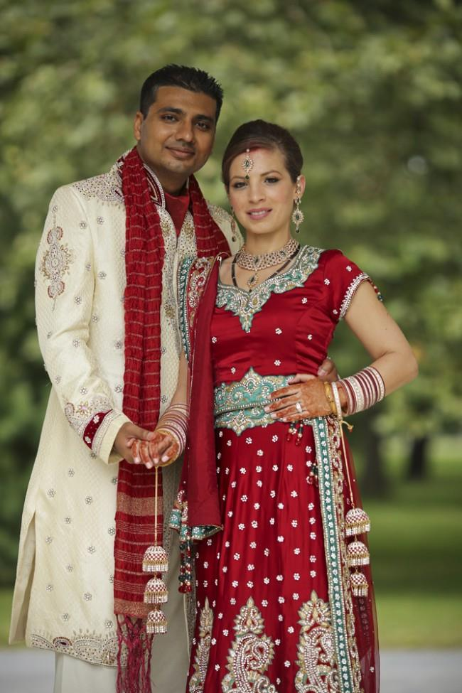 14a multicultural indian portrait red bridal lengha
