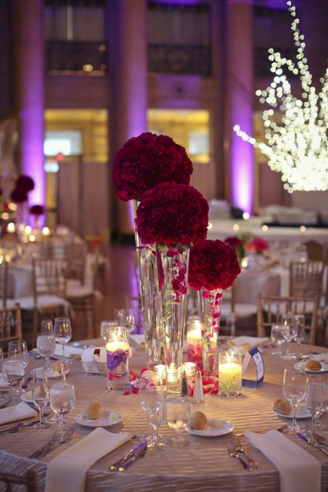 26a indian wedding red rose flower centerpiece