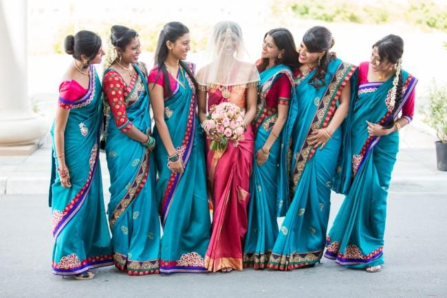 14a indian wedding sari bridesmaids red sari bride