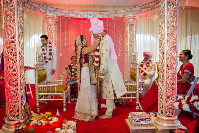 6 indian bride pink and red mandap ceremony