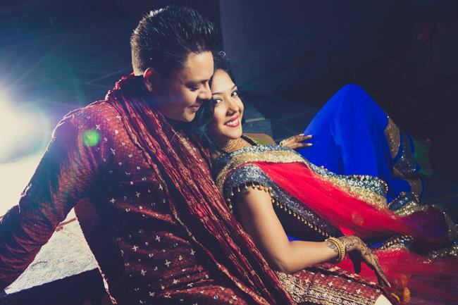 Indian sangeet couple portrait shot