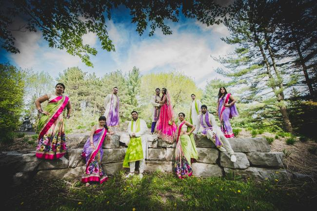 indian wedding bridal party portrait