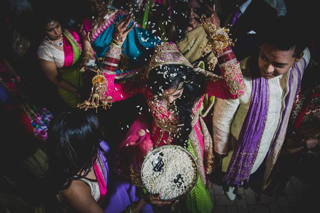 indian wedding bride and groom dholi