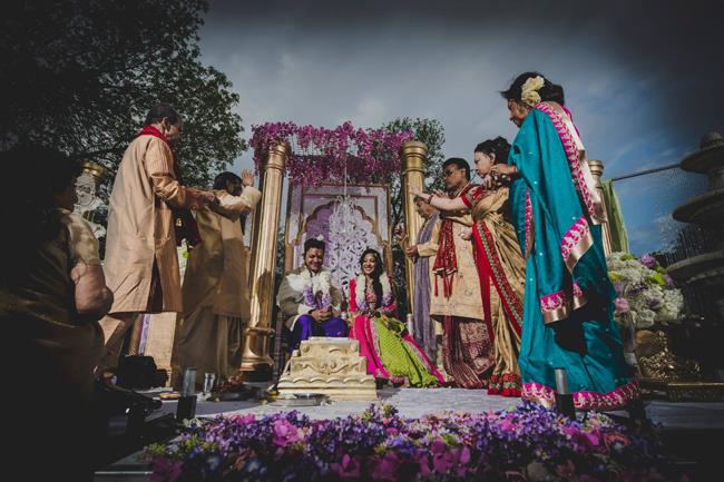 outdoor hindu ceremony mandap