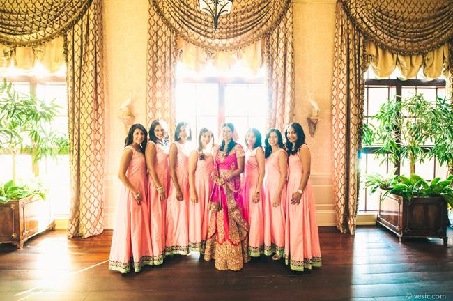 19a indian wedding bridesmaids peach lengha