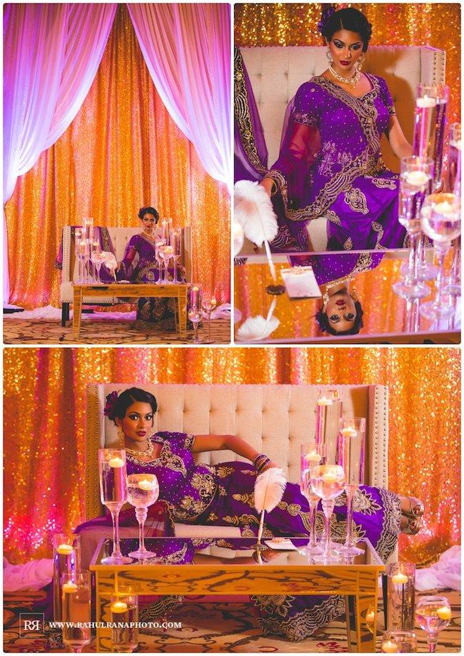 9a Indian wedding purple sari reception decor