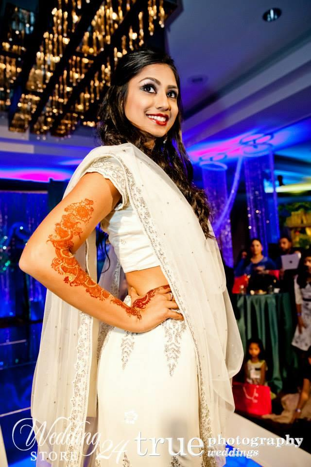 indian bridal lengha white arm mehndi