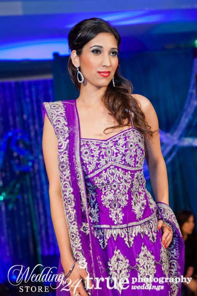 indian purple bridal lengha silver work