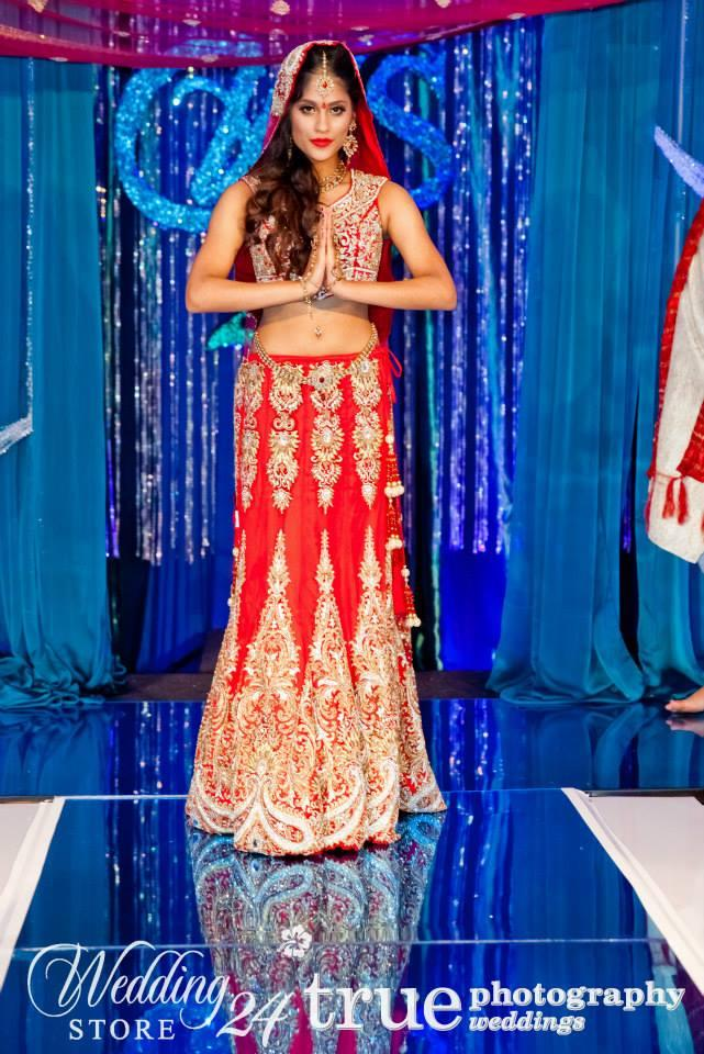 indian red and gold printed bridal lengha