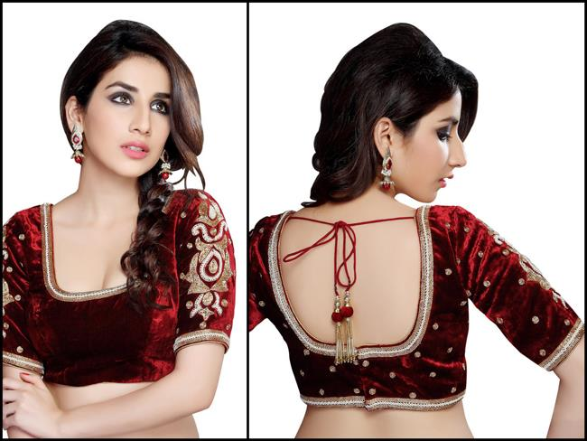 Saris and Things red long sleeved velvet moti blouse