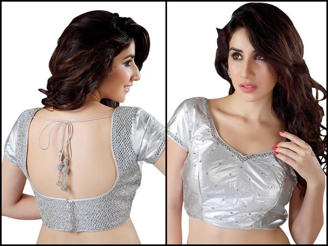 Saris and Things silver sari blouse zardozi stone work