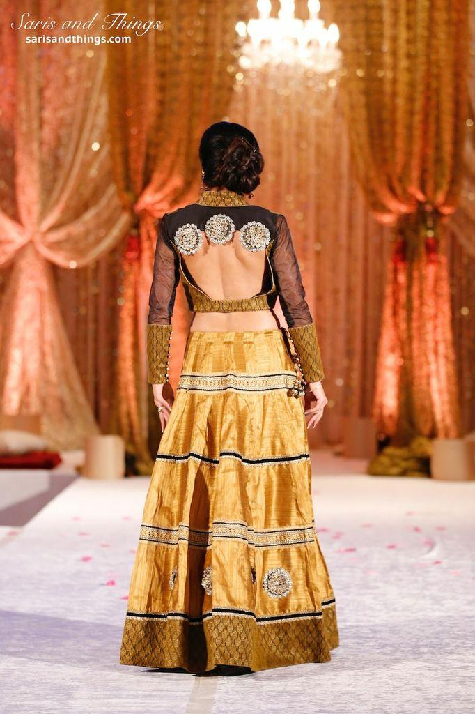 saris and things gold black lengha choli