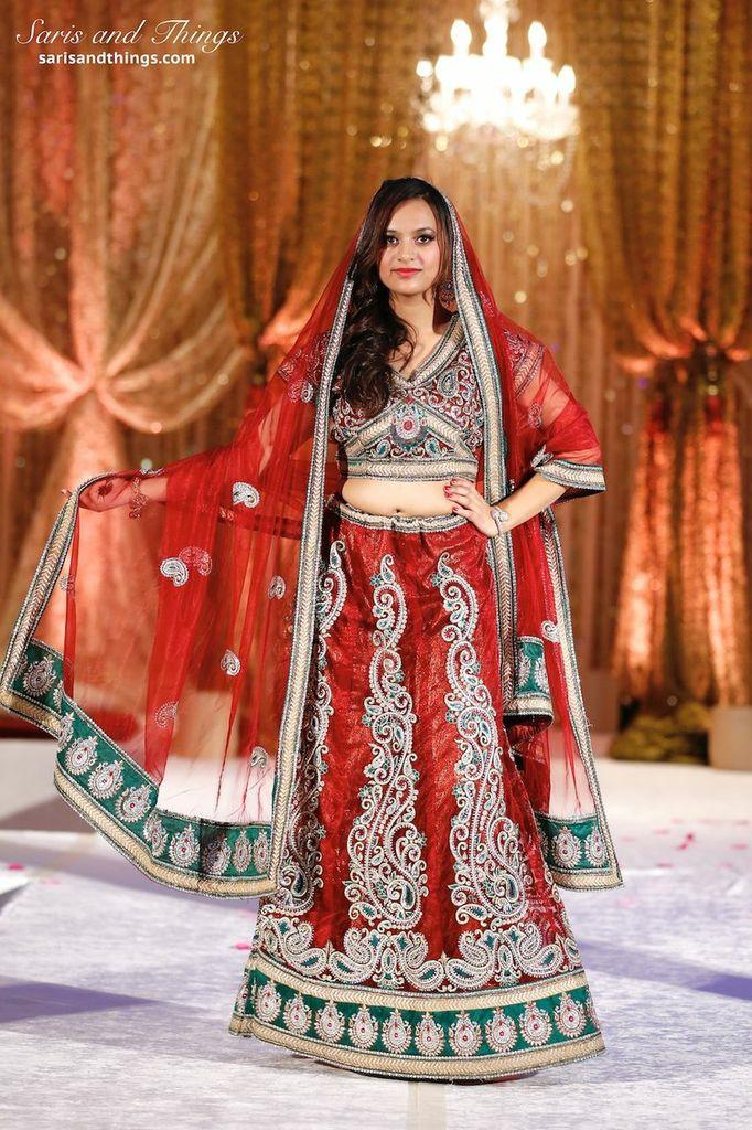 saris and things red bridal lengha