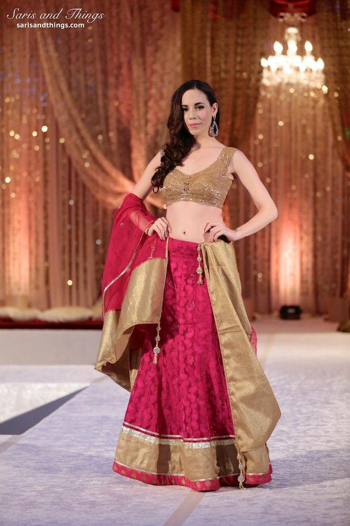 saris and things raspberry bronze lengha