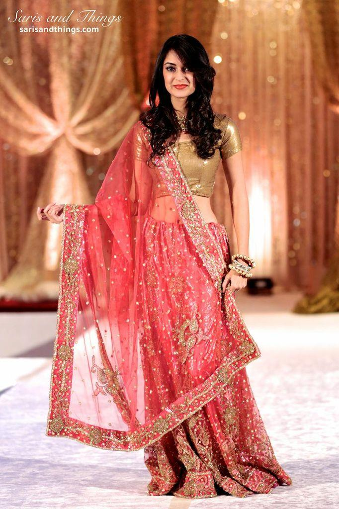 saris and things gold coral lengha