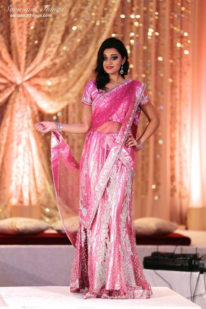 saris and things pink sari lengha