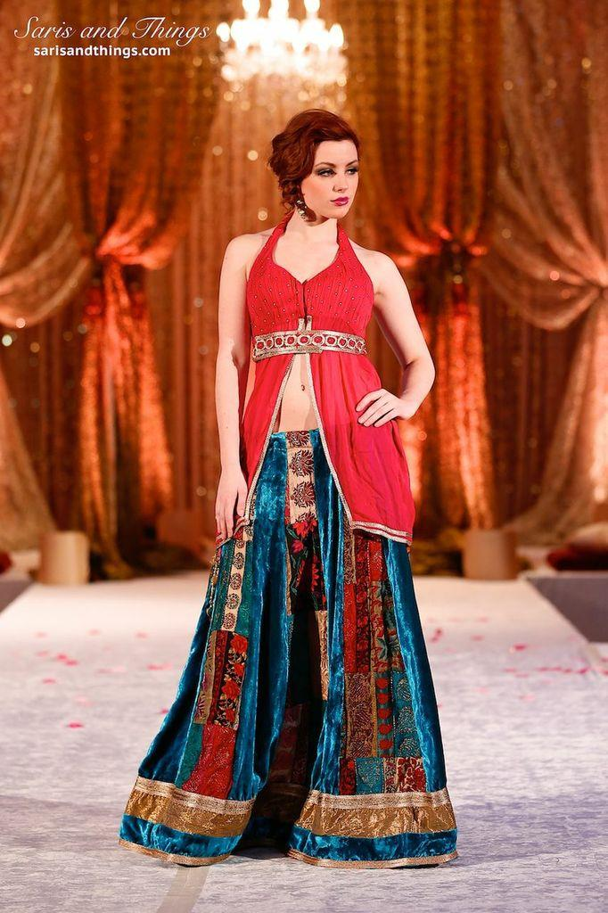 saris and things teal red velvet lengha