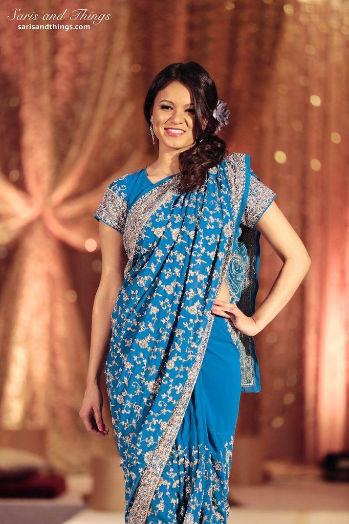 saris and things aqua gold sari