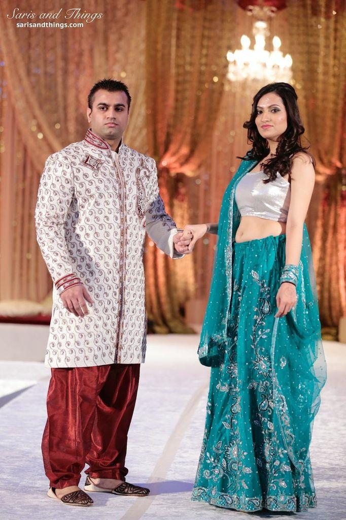 saris and things silver teal lengha white sherwani