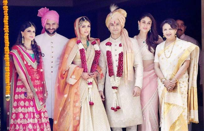 soha ali khan and kunal khemu family wedding portrait