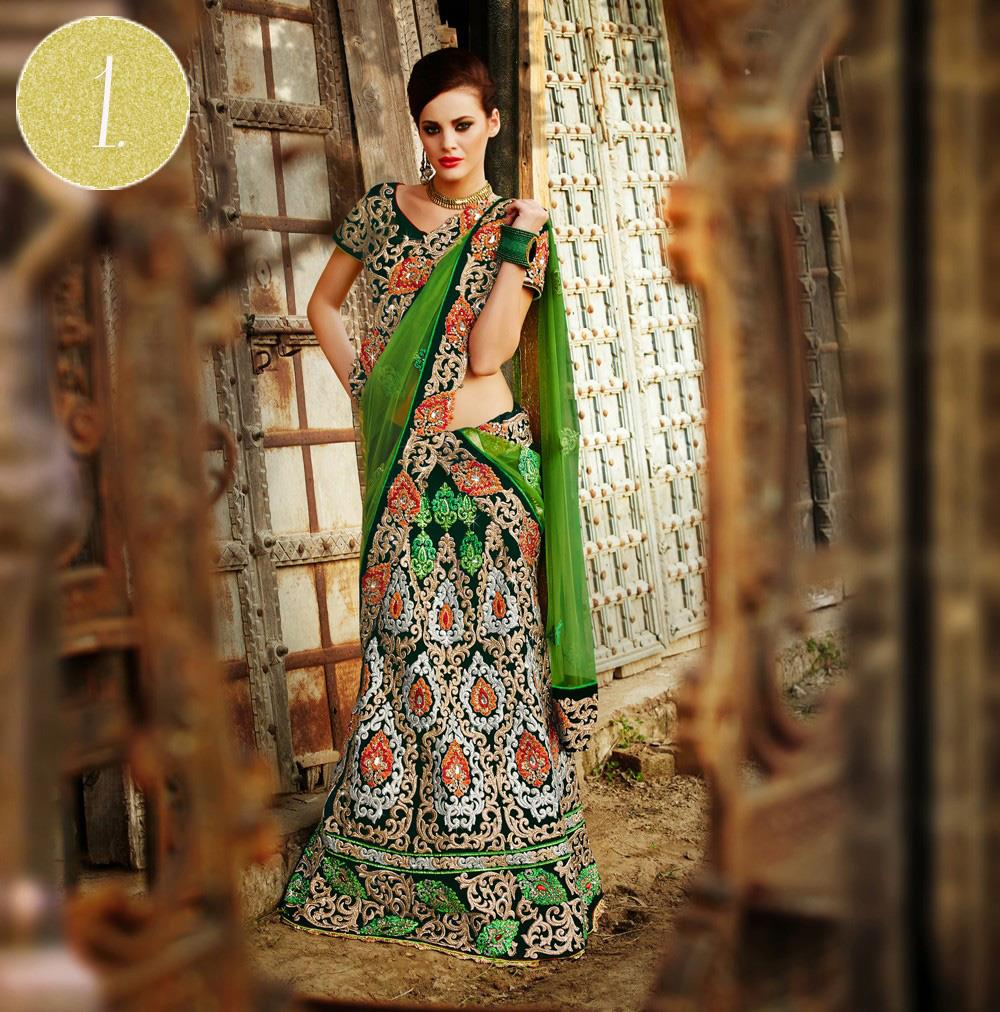 green gold indian wedding lengha