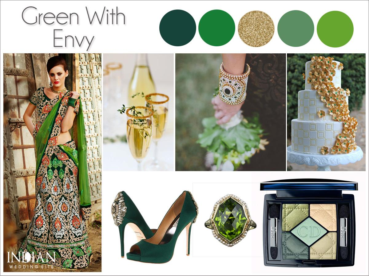 St. Patrick's Day Green Gold Indian Wedding Palette