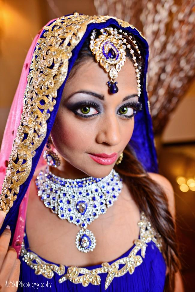 indian wedding makeup and blue jewelry
