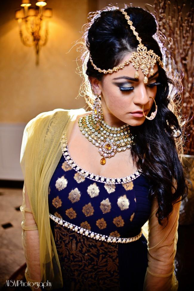 indian wedding navy and gold anarkhali and jewelry