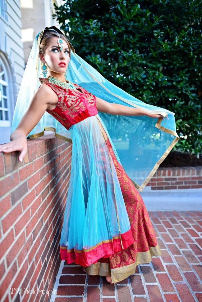 indian wedding red and blue anarkhali