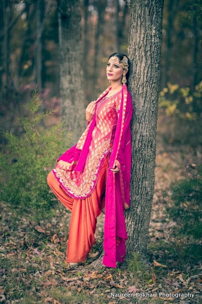 pink and orange retro salwar kameez