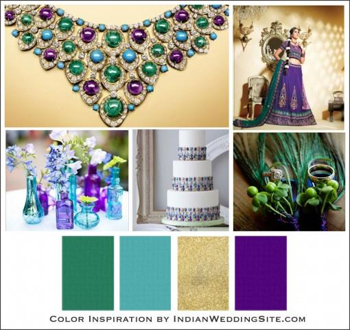 Purple Teal Blue Emerald Green And Gold Wedding Theme Turquoise Amethyst Indian