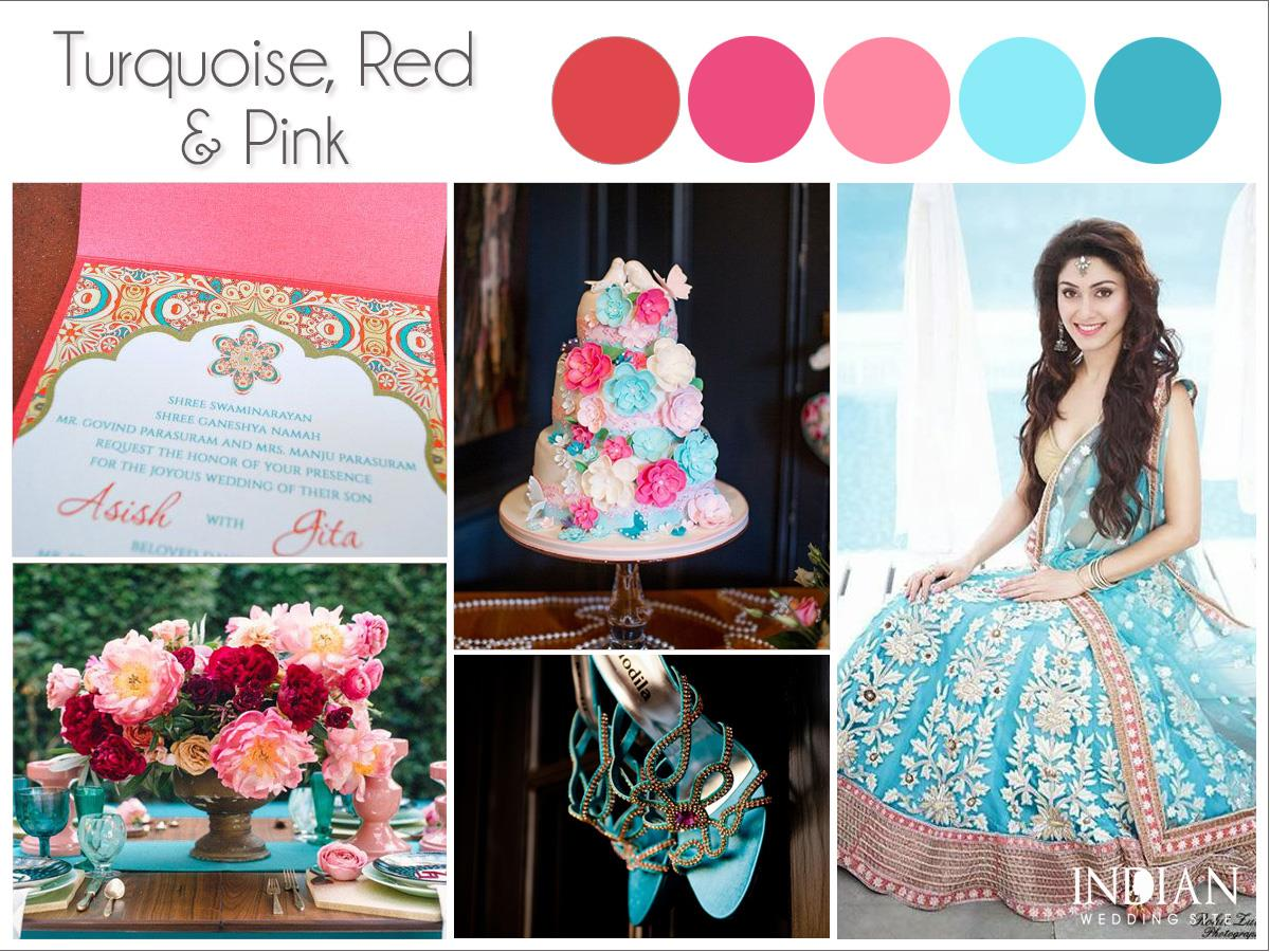 turquoise red pink indian wedding palette