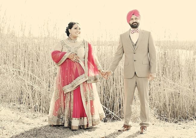 sikh engagement outdoor portrait