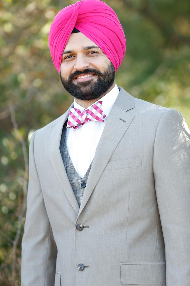 Sikh Engagement Pink Turban and bow tie
