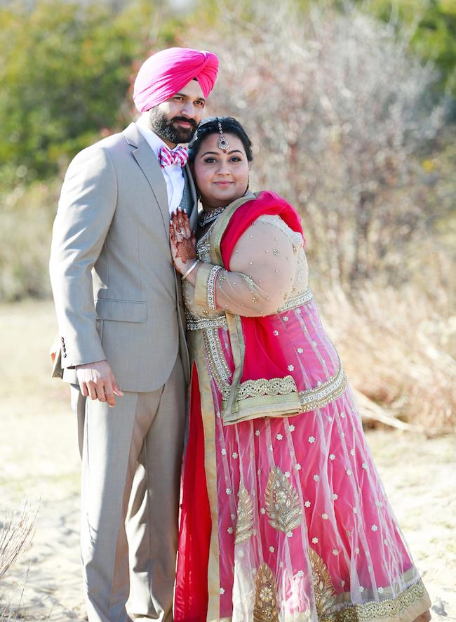 sikh engagement portrait pink lengha pink turban