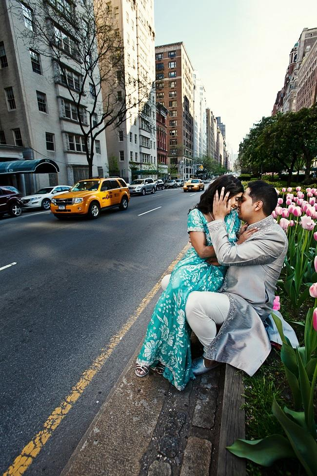 1a Indian engagement session NYC blue sari street