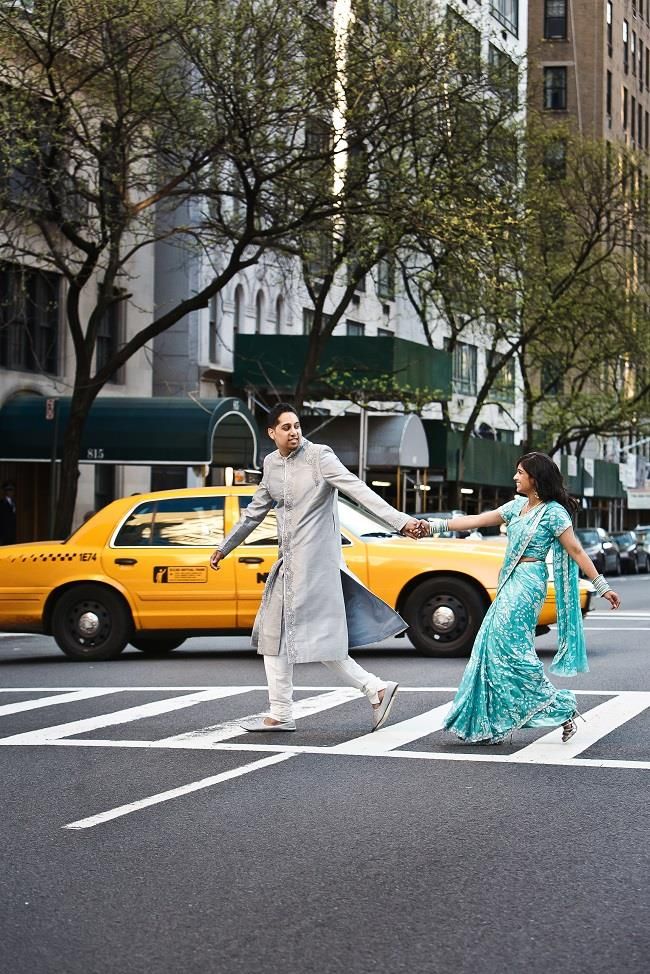 2aindian engagement session crossing street blue sari