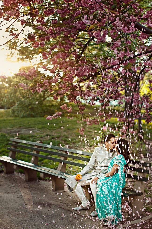 4aindian engagement session cherry blossom