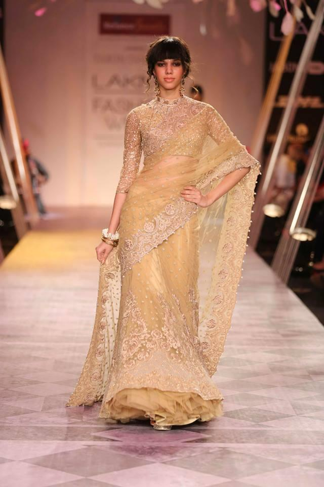 Tarun Tahiliani Lakme Fashion Week Summer 2014 gold sari
