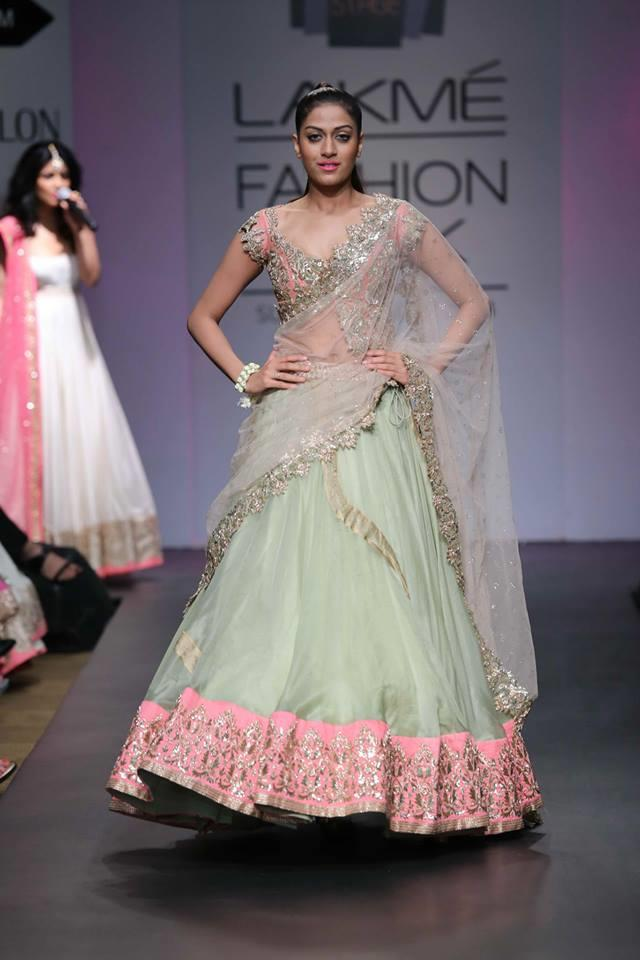 Anushree Reddy Lakme Fashion Week Summer Resort 2014 mint green and pink indian wedding lehnga
