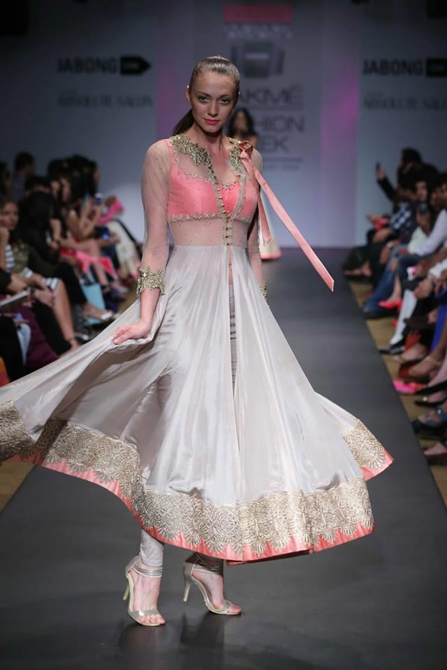 Anushree Reddy Lakme Fashion Week Summer Resort 2014 pink and white anarkali