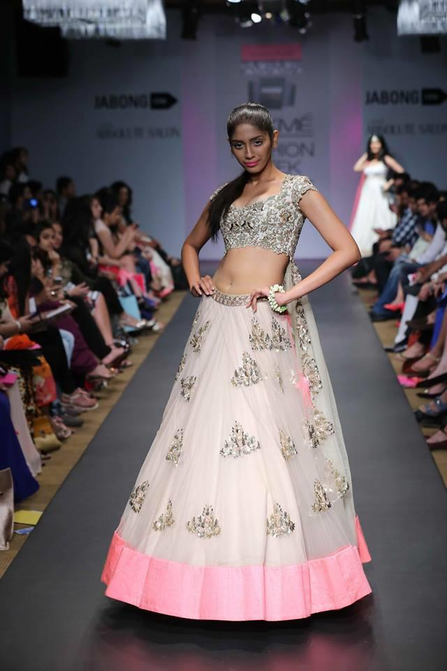 Anushree Reddy Lakme Fashion Week Summer Resort 2014 pink and white gold tulle indian bridal lehnga