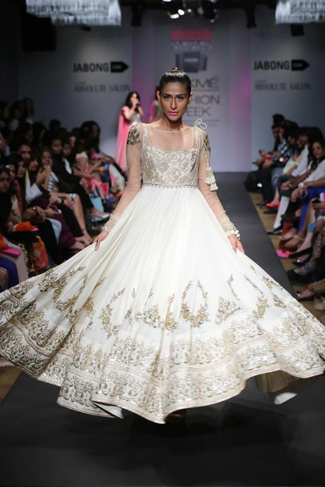 Anushree Reddy Lakme Fashion Week Summer Resort 2014 white ivory gold gown net anarkali