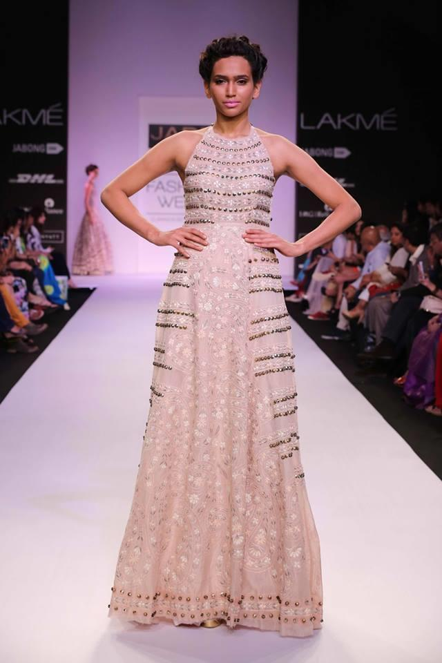 JADE by Monica and Karisma at Lakme Fashion Week Summer Resort 2014 cream metallic beaded dress