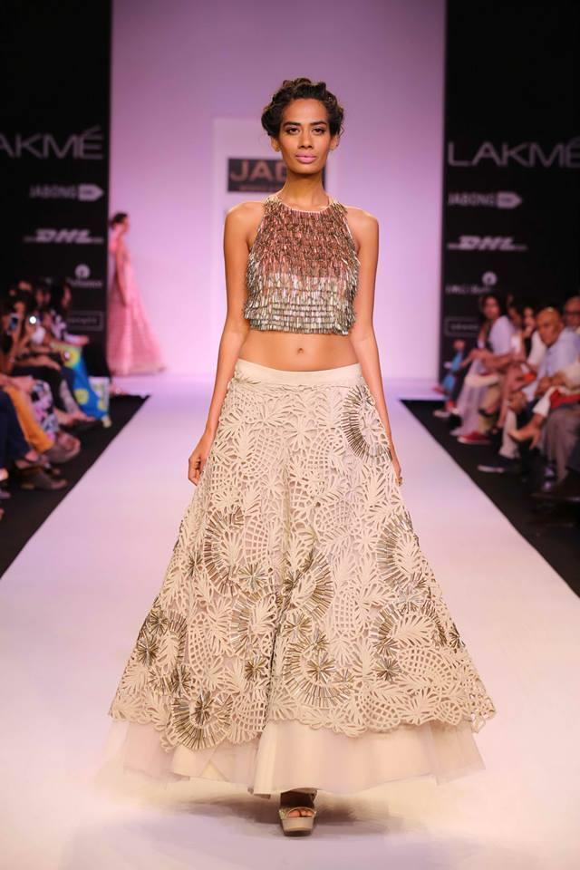 JADE by Monica and Karisma at Lakme Fashion Week Summer Resort 2014 cropped top white lehnga