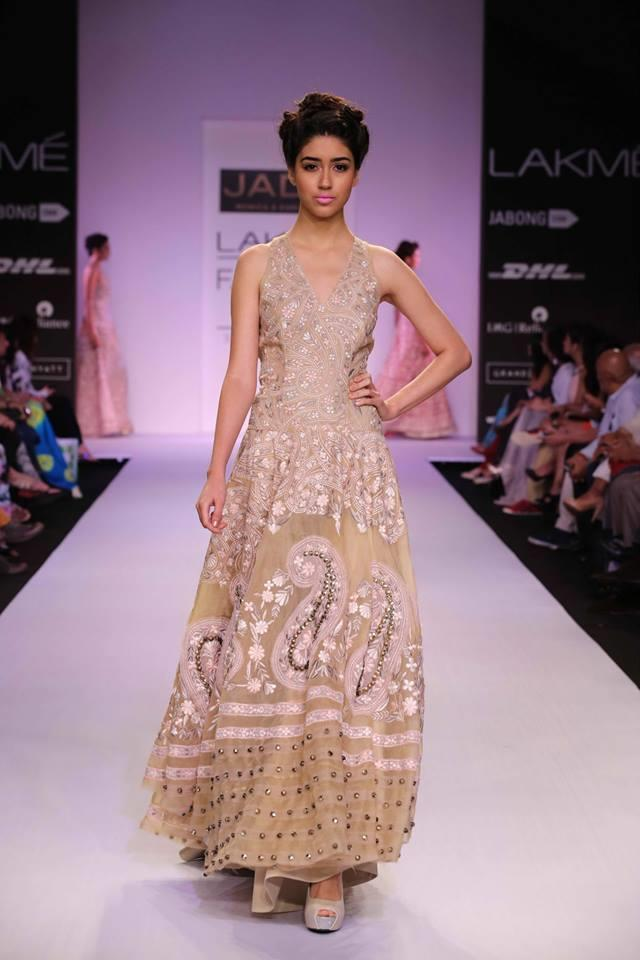 JADE by Monica and Karisma at Lakme Fashion Week Summer Resort 2014 gold paisley dress