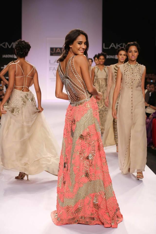 JADE by Monica and Karisma at Lakme Fashion Week Summer Resort 2014 Lisa Haydon pink cutout dress