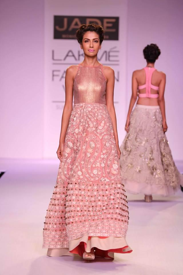 JADE by Monica and Karisma at Lakme Fashion Week Summer Resort 2014 pink dress gown with border
