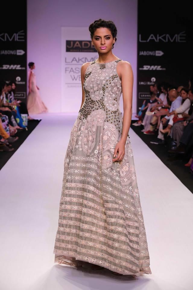 JADE by Monica and Karisma at Lakme Fashion Week Summer Resort 2014 silver beaded metallic dress