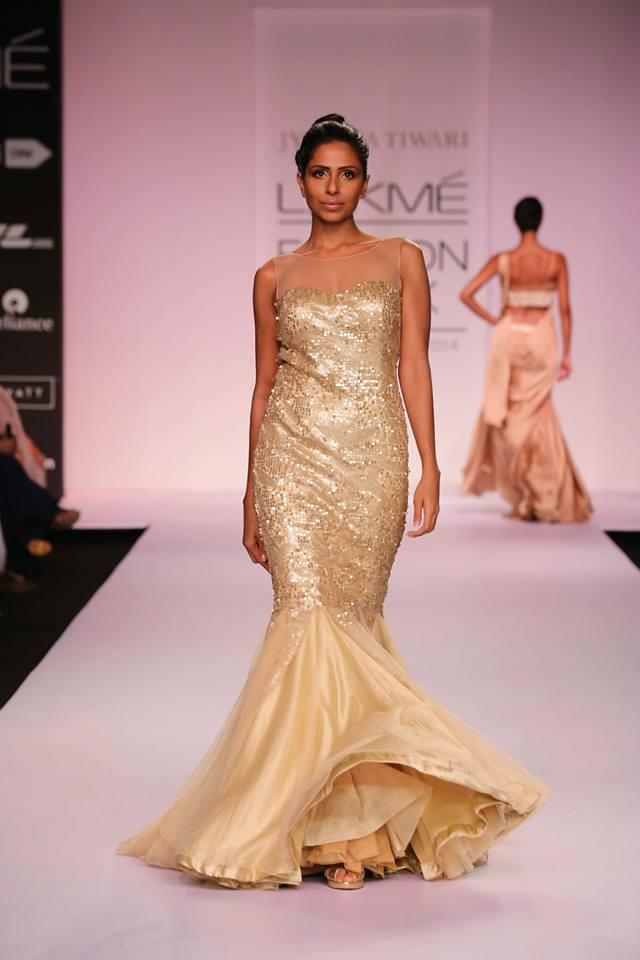 Jyotsna Tiwari Lakme Fashion Week Summer 2014 gold Indian wedding dress